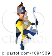 Clipart 3d Male Super Hero Holding A Tooth Brush And A Thumb Up 3 Royalty Free CGI Illustration
