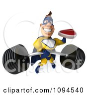 Clipart 3d Male Super Hero Holding A Steak And Lifting A Barbell One Handed Royalty Free CGI Illustration