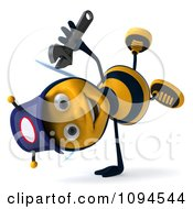 Clipart 3d Mechanic Bee Cartwheeling Royalty Free CGI Illustration by Julos