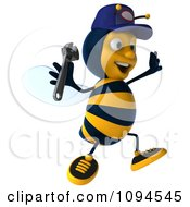 Clipart 3d Mechanic Bee Jumping Royalty Free CGI Illustration by Julos