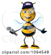 Clipart 3d Welcoming Mechanic Bee Royalty Free CGI Illustration by Julos