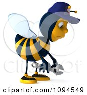 Clipart 3d Mechanic Bee Pouting Royalty Free CGI Illustration by Julos