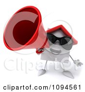 Clipart 3d White Clay Home Announcing With A Megaphone 1 Royalty Free CGI Illustration