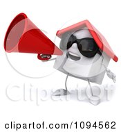 Clipart 3d White Clay Home Announcing With A Megaphone 2 Royalty Free CGI Illustration