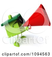 Clipart 3d Green Clay Home Using A Megaphone 3 Royalty Free CGI Illustration