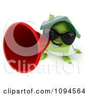 Clipart 3d Green Clay Home Using A Megaphone 4 Royalty Free CGI Illustration