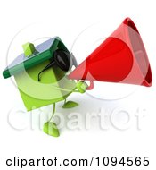 Clipart 3d Green Clay Home Using A Megaphone 1 Royalty Free CGI Illustration