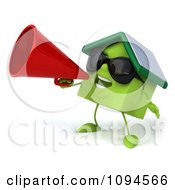 Clipart 3d Green Clay Home Using A Megaphone 2 Royalty Free CGI Illustration