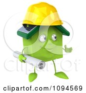 Clipart 3d Green Clay Home Contractor Carrying Blueprints 3 Royalty Free CGI Illustration