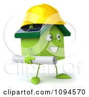 Clipart 3d Green Clay Home Contractor Carrying Blueprints 2 Royalty Free CGI Illustration