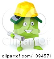 Clipart 3d Green Clay Home Contractor Carrying Blueprints 1 Royalty Free CGI Illustration