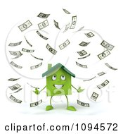 Clipart 3d Green Clay Home Surrounded By Cash 1 Royalty Free CGI Illustration by Julos