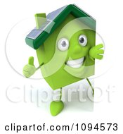 Clipart 3d Green Clay Solar Home With A Sign 1 Royalty Free CGI Illustration