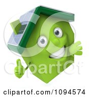 Clipart 3d Green Clay Solar Home With A Sign 2 Royalty Free CGI Illustration