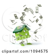 Clipart 3d Green Clay Home Surrounded By Cash 3 Royalty Free CGI Illustration