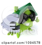 Clipart 3d Green Clay Home Wearing Shades And Holding A Euro Symbol 2 Royalty Free CGI Illustration