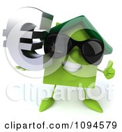 Clipart 3d Green Clay Home Wearing Shades And Holding A Euro Symbol 3 Royalty Free CGI Illustration