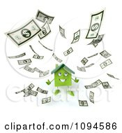 Clipart 3d Green Clay Home Surrounded By Cash 2 Royalty Free CGI Illustration