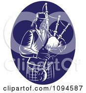 Clipart Retro Blue And White Bagpipe Player Royalty Free Vector Illustration #1094587 by patrimonio