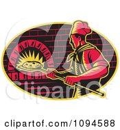 Retro Chef Inserting Pizza Into A Brick Oven