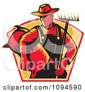 Clipart Retro Farmer Carrying A Rake And Sack Royalty Free Vector Illustration