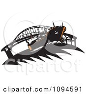 Clipart Freighter Ship Near A Bridge Royalty Free Vector Illustration by patrimonio