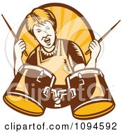 Clipart Retro Granny Rocking Out With Drums Over Rays Royalty Free Vector Illustration