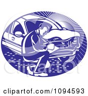 Clipart Retro Insurance Adjuster Crouching By A Damaged Car Royalty Free Vector Illustration by patrimonio