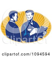 Clipart Retro Insurance Adjuster Speaking With A Client Over Orange Rays Royalty Free Vector Illustration
