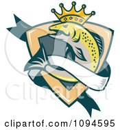 Retro Crowned King Salmon Shield And Banner