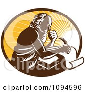 Clipart Retro Man Or St Jerome Writing On A Page Over Rays Royalty Free Vector Illustration