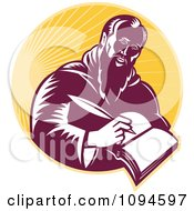 Clipart Retro Man Or St Jerome Writing In A Book Over Rays Royalty Free Vector Illustration