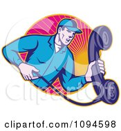 Retro Landline Repair Man Holding A Phone Over Rays