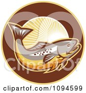 Clipart Retro Trout And Rays Royalty Free Vector Illustration