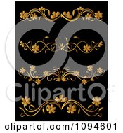 Clipart Golden Flourish Rule And Border Design Elements 7 Royalty Free Vector Illustration