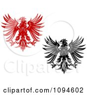 Clipart Red And Black And White Heraldic Eagles Royalty Free Vector Illustration