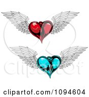 Shiny Blue And Red Winged Hearts