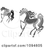 Clipart Prancing Gray And Black Horses Royalty Free Vector Illustration