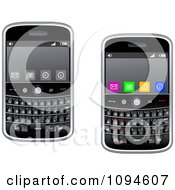Clipart Modern Cell Phones With Buttons On The Screens Royalty Free Vector Illustration