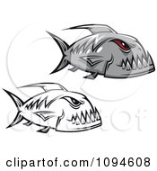 Clipart Gray And Black And White Piranha Fish Royalty Free Vector Illustration