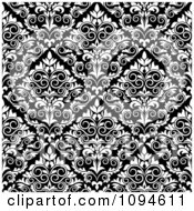 Clipart Black And White Triangular Damask Pattern Seamless Background 12 Royalty Free Vector Illustration