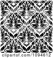 Clipart Black And White Triangular Damask Pattern Seamless Background 11 Royalty Free Vector Illustration