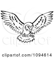 Clipart Black And White Owl In Flight Royalty Free Vector Illustration