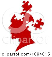 Clipart Red Head With Puzzle Pieces Removed Royalty Free Vector Illustration