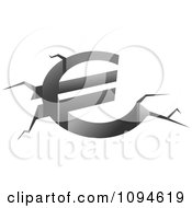 Clipart Euro Shaped Fissure Crack Royalty Free Vector Illustration