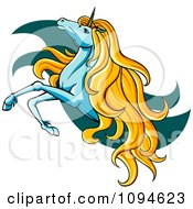 Clipart Leaping Unicorn Over Teal Waves Royalty Free Vector Illustration