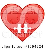 Clipart Red Puzzle Heart With One Missing Piece Royalty Free Vector Illustration by Vector Tradition SM