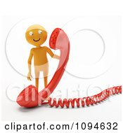 Clipart 3d Orange Man Holding A Red Phone Receiver Royalty Free CGI Illustration