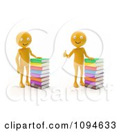 Clipart 3d Orange Men With Stacks Of Books Royalty Free CGI Illustration by Mopic