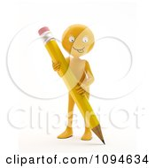 Clipart 3d Orange Man Holding A Pencil 2 Royalty Free CGI Illustration by Mopic